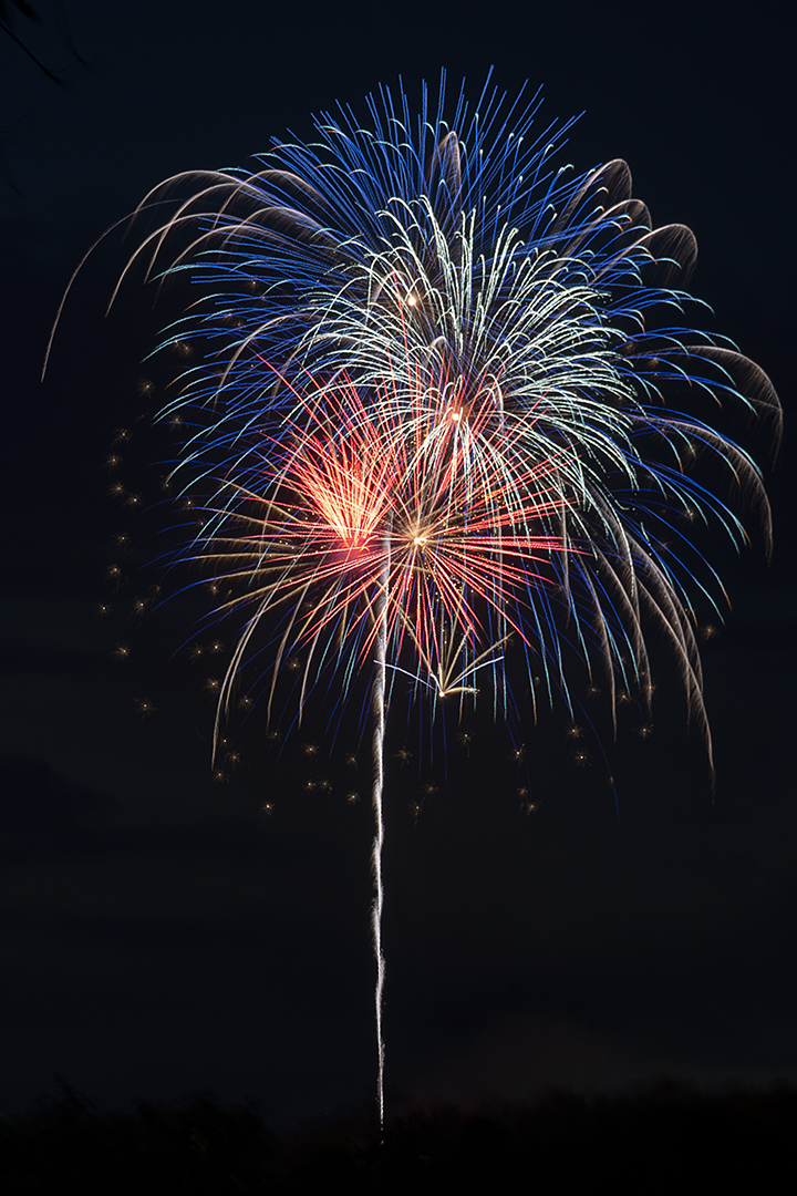 Photograph of red, white and blue fireworks